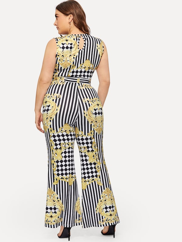 Plus Size Striped Panel Self-Tie Tank Jumpsuit
