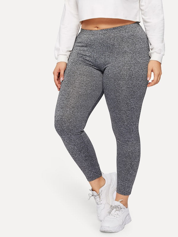 Plus Size Marled Knit Leggings