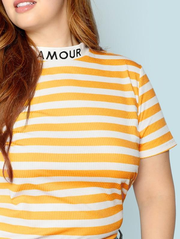 Plus Size Mock Neck Letter And Striped Rib Tee