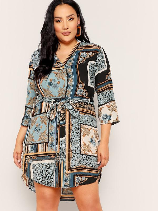 Plus Size V Neck Curved Hem Scarf Print Belted Dress