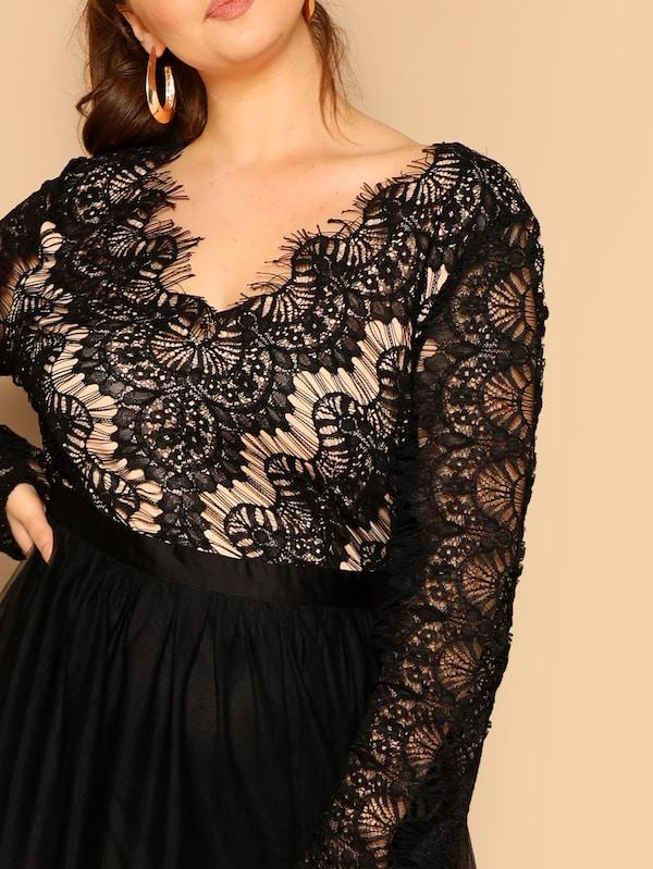 Plus Size Lace Bodice Mesh Hem Dress