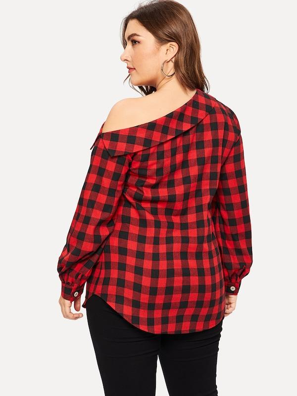 Plus Size Plaid Asymmetrical Neck Blouse