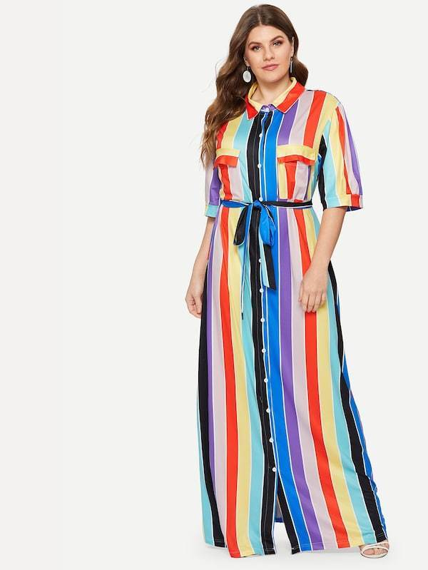 Plus Size Multi-Striped Self-Tie Shirt Dress