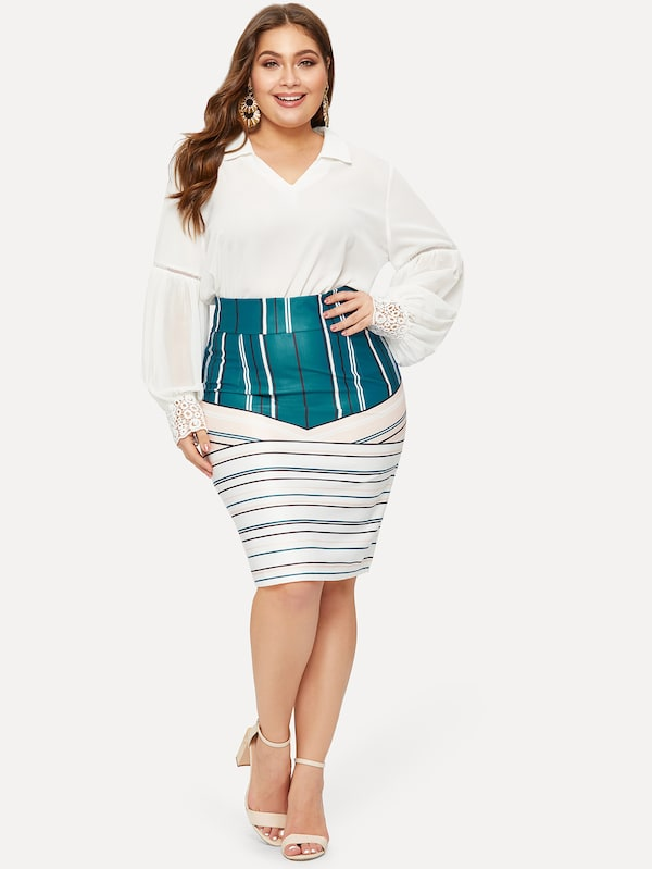 Plus Size Color-Block Striped Skirt