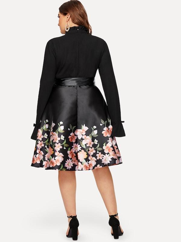 Plus Size Floral Print Self-Tie Dress