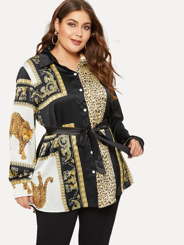 Plus Size Designer Print Self Tie Blouse