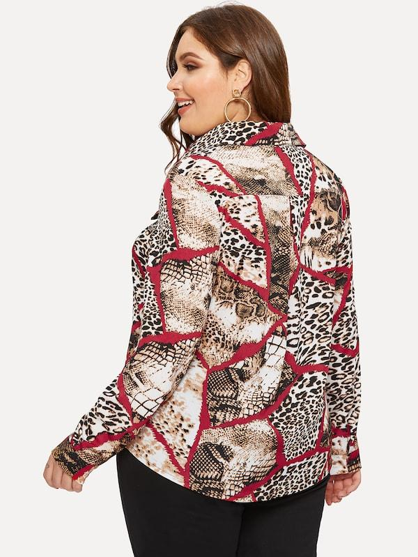 Plus Size Single Breasted Contrast Leopard And Snake Print Blouse