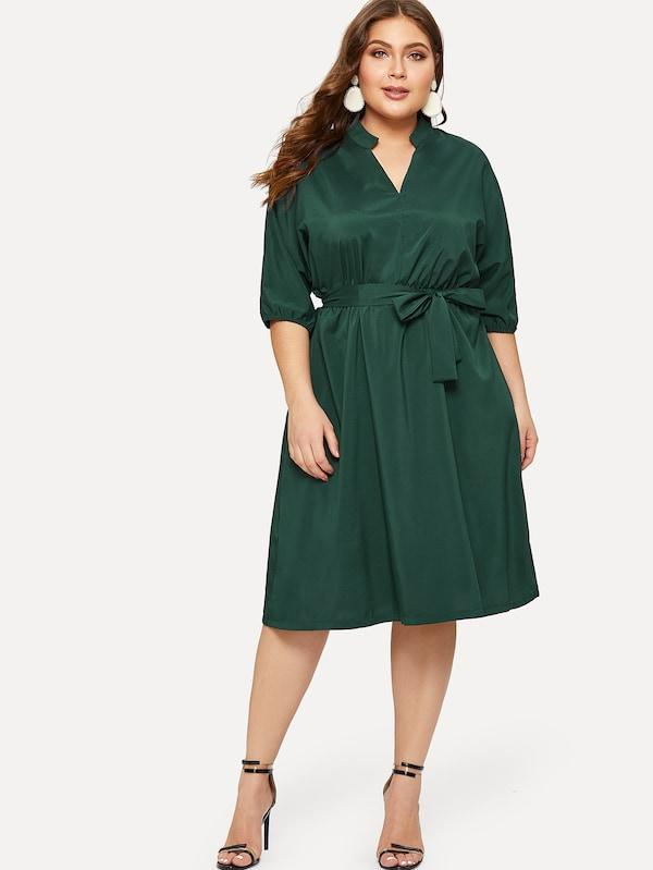 Plus Size Solid Self Tie Dress