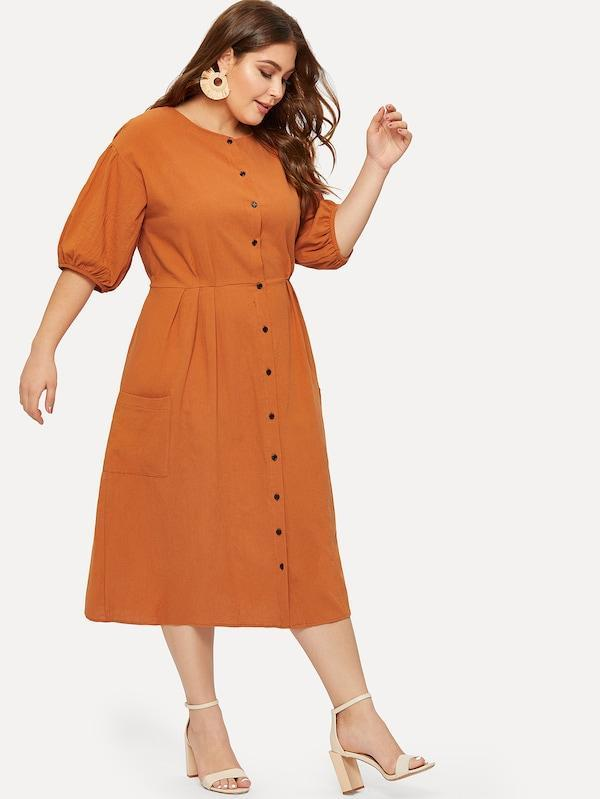 Plus Size Pocket Button Front Shirt Dress
