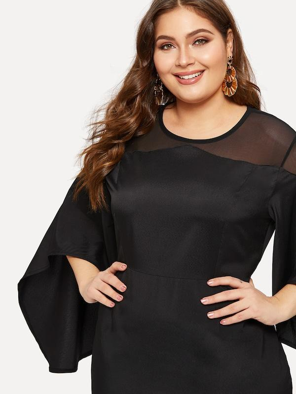 Plus Size Contrast Mesh Bell Sleeve Dress