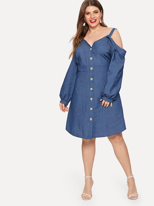 Plus Cold-Shoulder Single Breasted Denim Dress