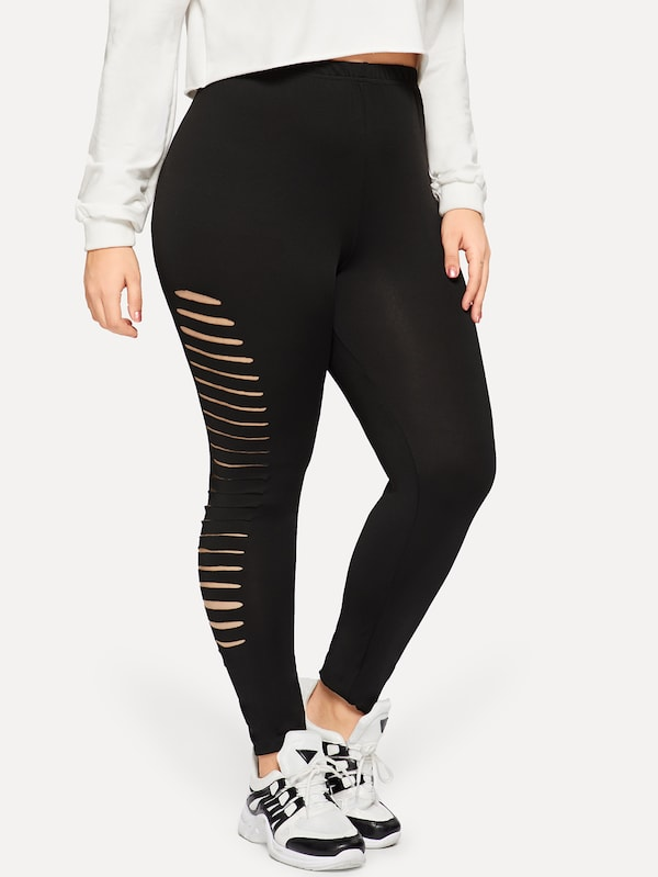 Plus Ripped Side Skinny Leggings