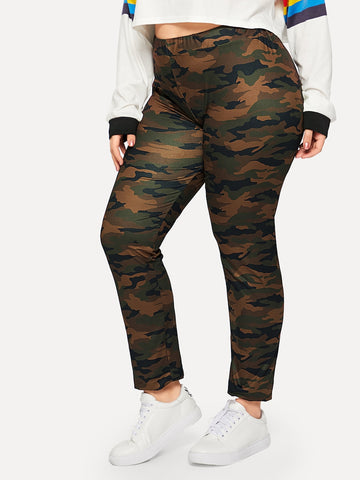 Plus Size Camo Print Skinny Leggings