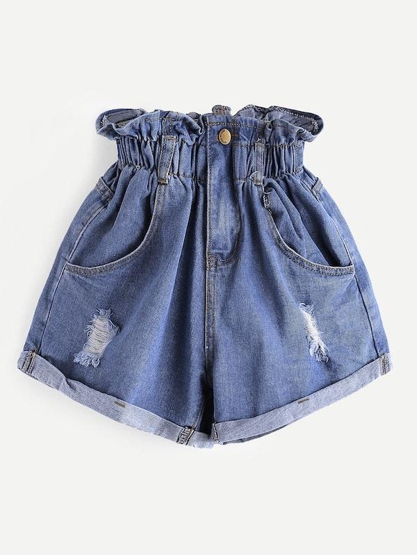 Plus Size Ripped Frill Waist Denim Shorts