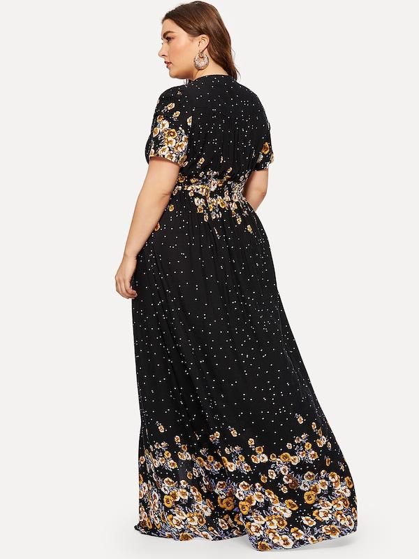 Plus Size Half Placket Shirred Waist Floral Dress