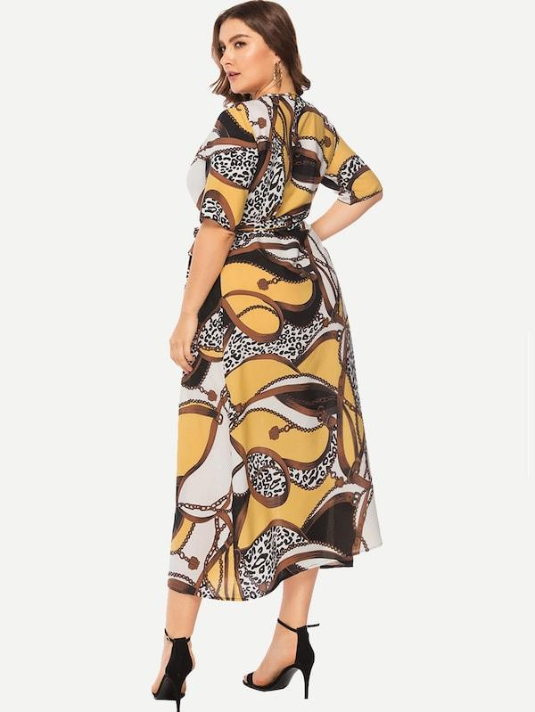 Plus Size Scarf Print Wrap Self Tie Dress