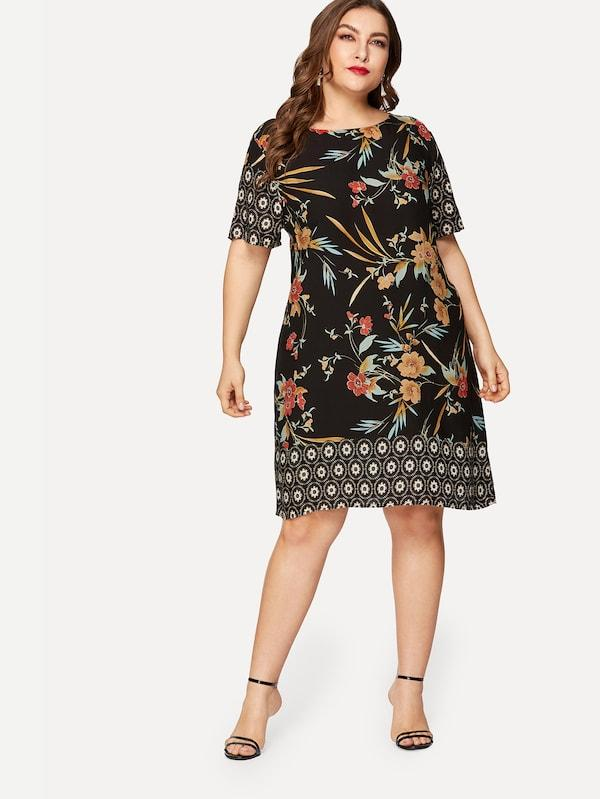 Plus Size Floral Print Tunic Dress