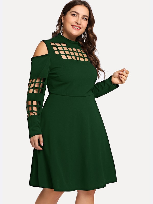 Plus Size Open Shoulder Caged Insert Fit & Flare Dress