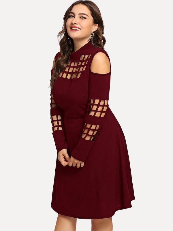Plus Size Cut Out Mock-Neck Solid Dress