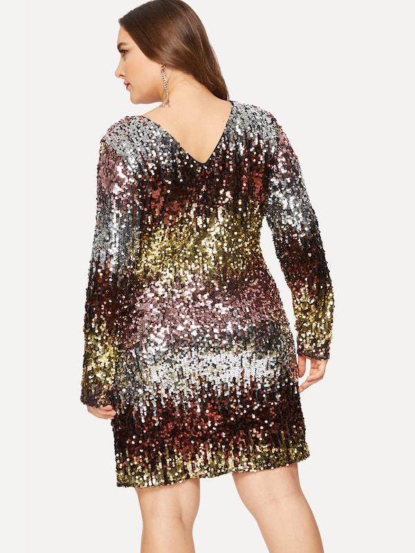 Plus Size Ombre Sequin Fitted Dress