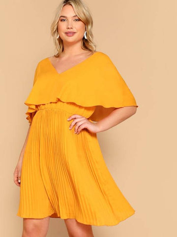 Plus Size Ruffle Detail V-Neck Solid Dress
