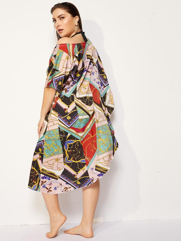 Plus Size Chain Print Asymmetrical Cover Up