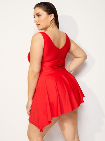 ... Plus Size Asymmetrical Ruched Top With Panty Tankini ... c90aea1be