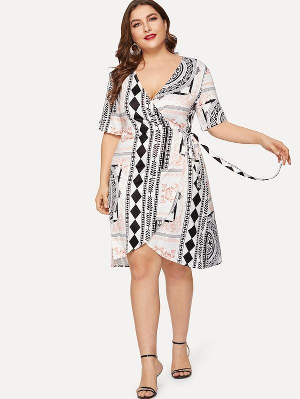 Plus Size Geo Print Wrap Dress