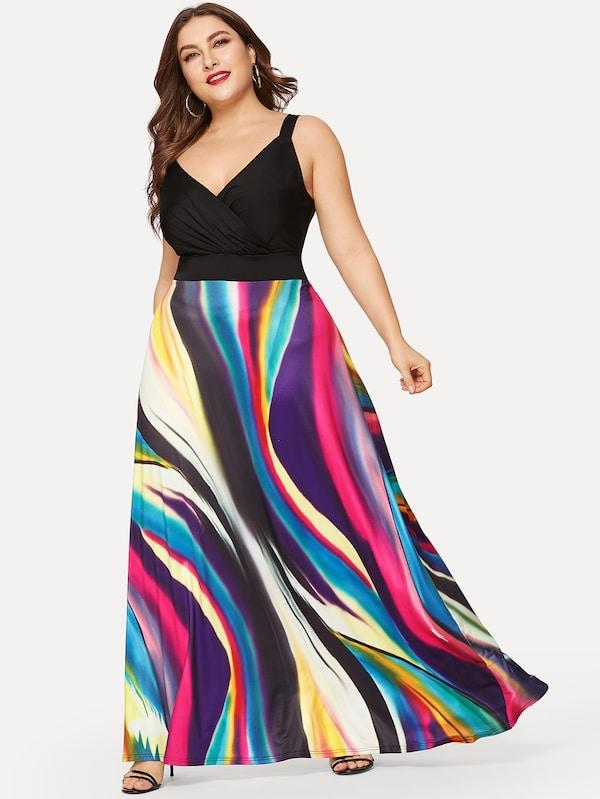 Plus Size Rainbow Striped Dress