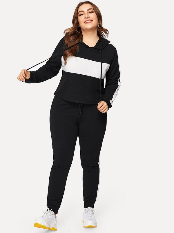 Plus Size Two Tone Drawstring Hoodie With Pants