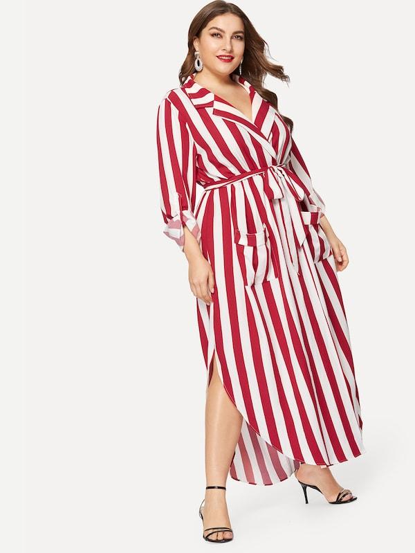 Plus Size Pocket Front Belted Striped Dress