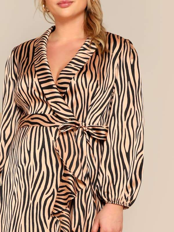 Plus Size Zebra Pattern Shawl Collar Belted Wrap Dress