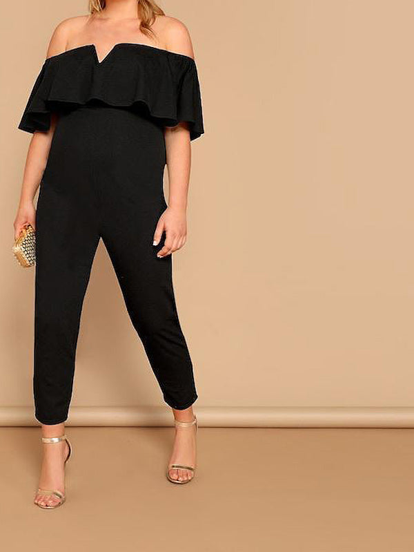 Plus Size Notched Flounce Off Shoulder Ruffle Jumpsuit