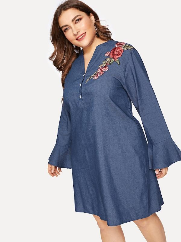 Plus Embroidered Applique Denim Dress