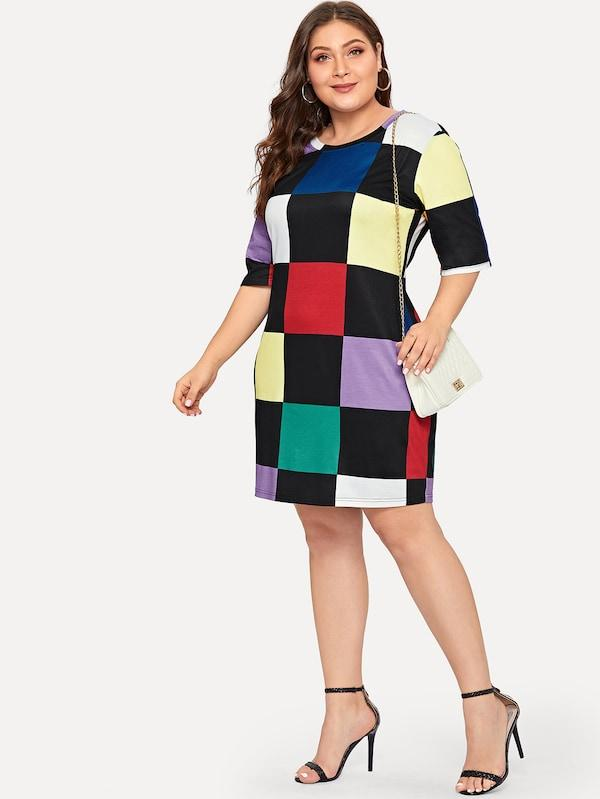 Plus Size Multicolor Block Dress