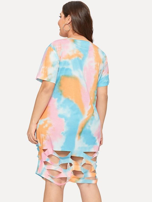 Plus Size Cut Out Tie Dye Dress