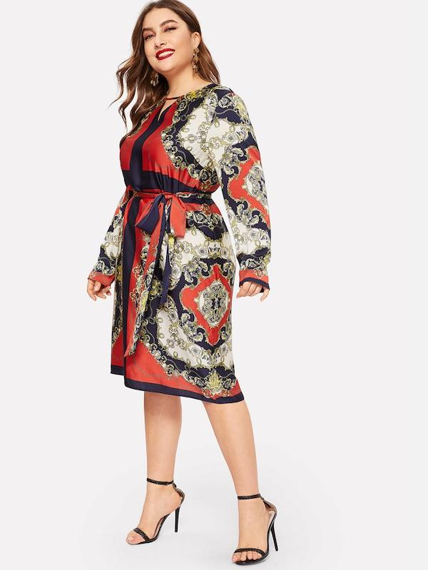 Plus Size Keyhole Front Ornate Print Belted Dress