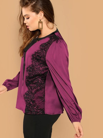 Plus Size Tie Neck Lace Trim Satin Top