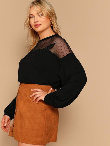 ... Plus Size Drop Shoulder Lace Trim Mesh Yoke Tee ... 84ececd6c