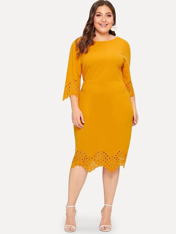 Plus Size Scallop Trim Laser Cut Dress