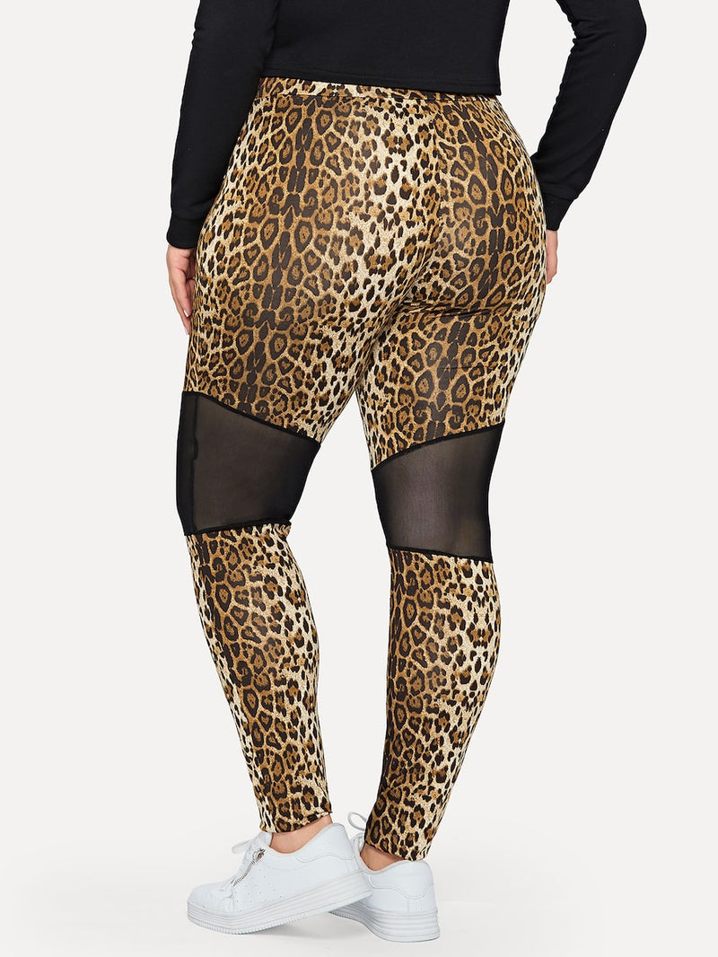 Plus Size Mesh Insert Leopard Leggings
