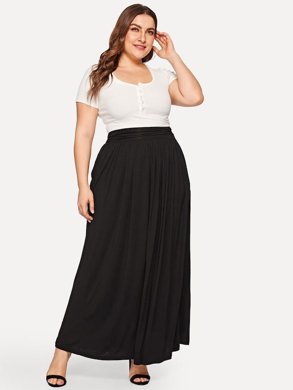 Plus Size Wide Waist Maxi Jersey Skirt