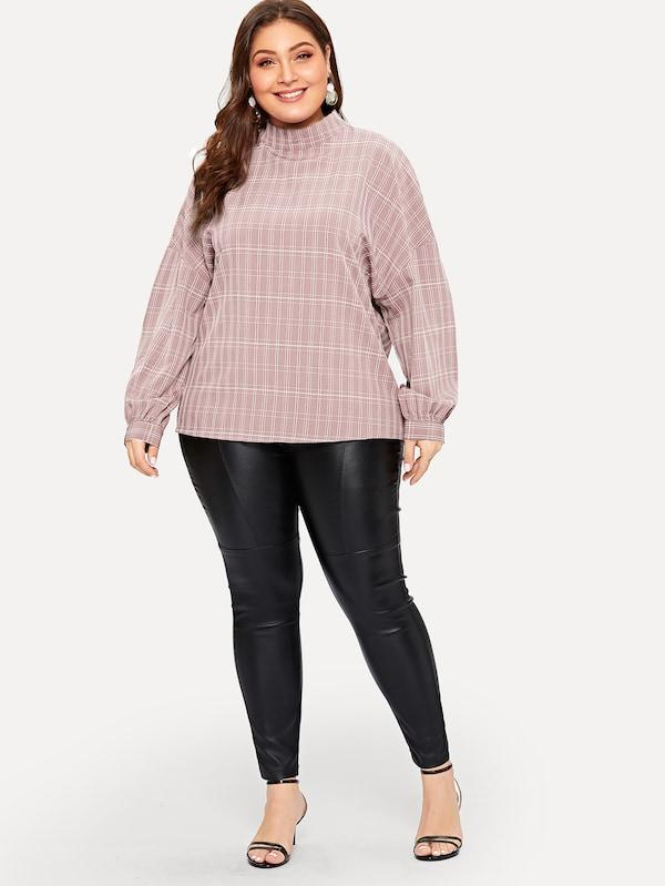 Plus Size Drop Shoulder Plaid Top
