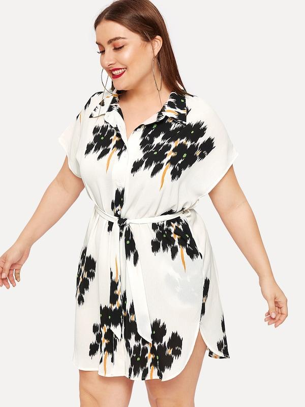 Plus Size Batwing Sleeve Curved Hem Belted Shirt Dress