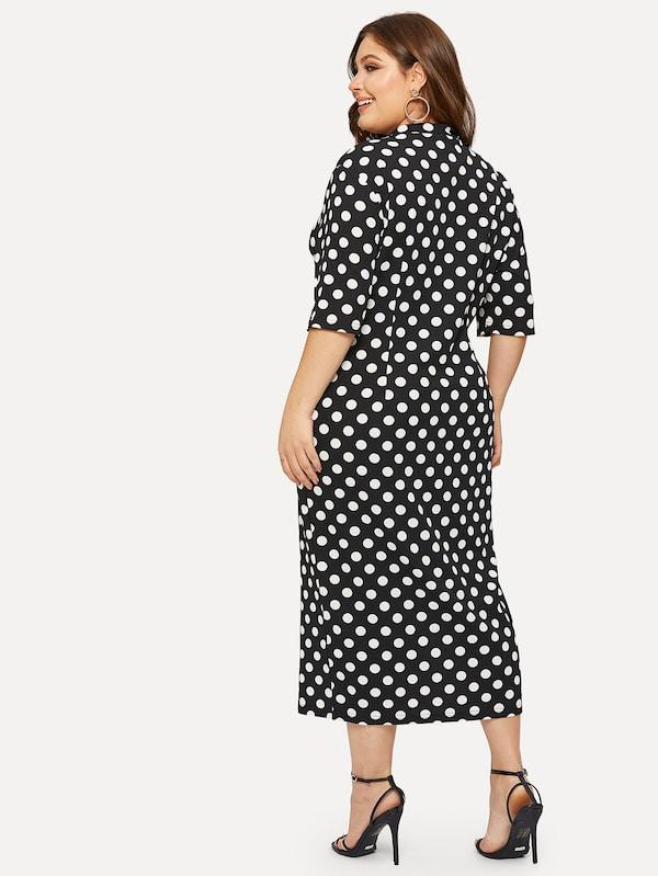 Plus Size Mock-Neck Polka-Dot Print Pencil Dress