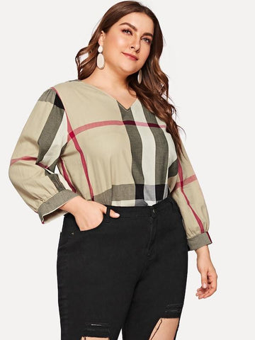 Plus Size Plaid V-Neck Blouse
