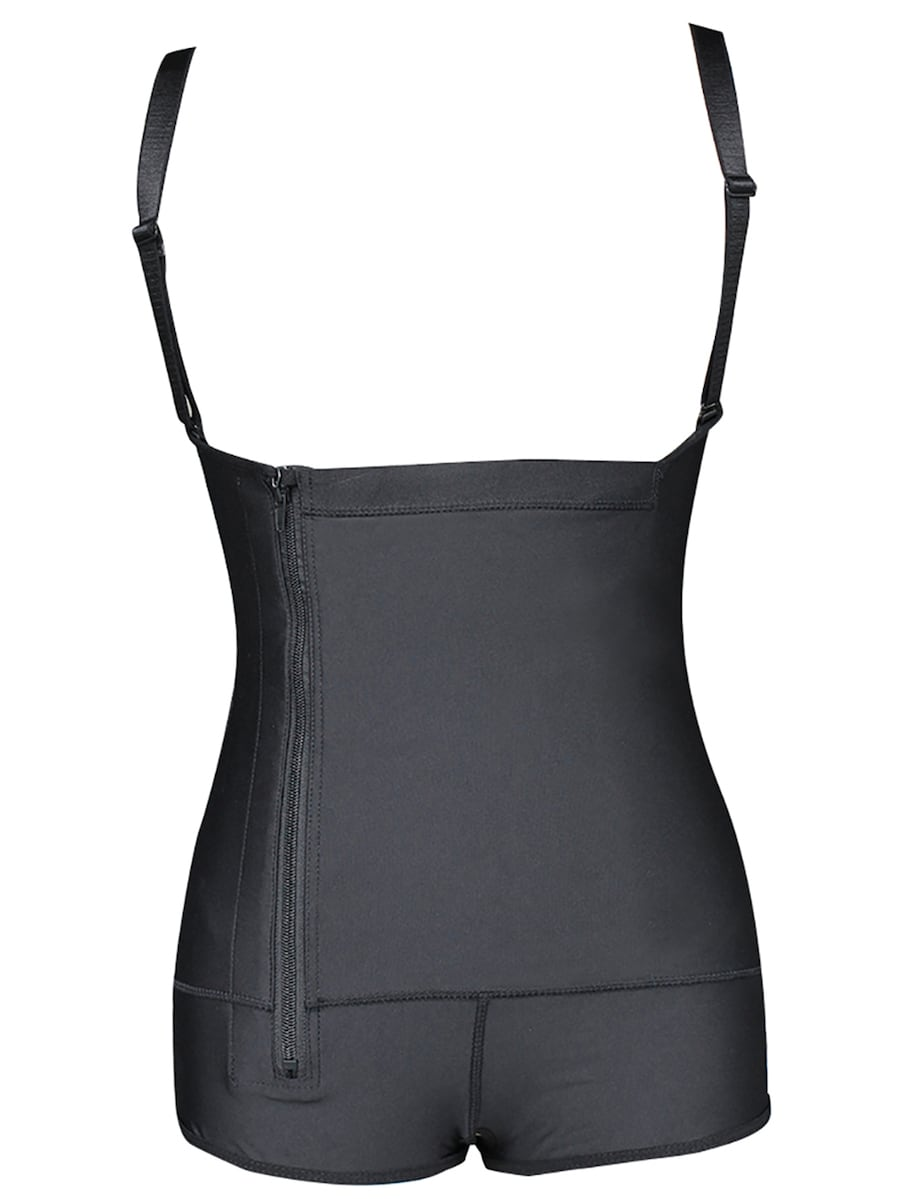 Plus Size Zip Up Ruched Shapewear Bodysuit