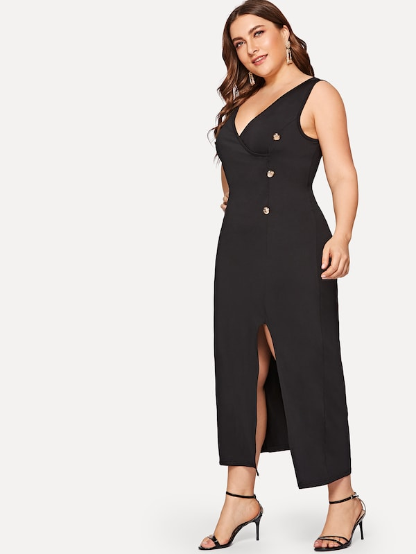 Plus Size Button Front Split Dress
