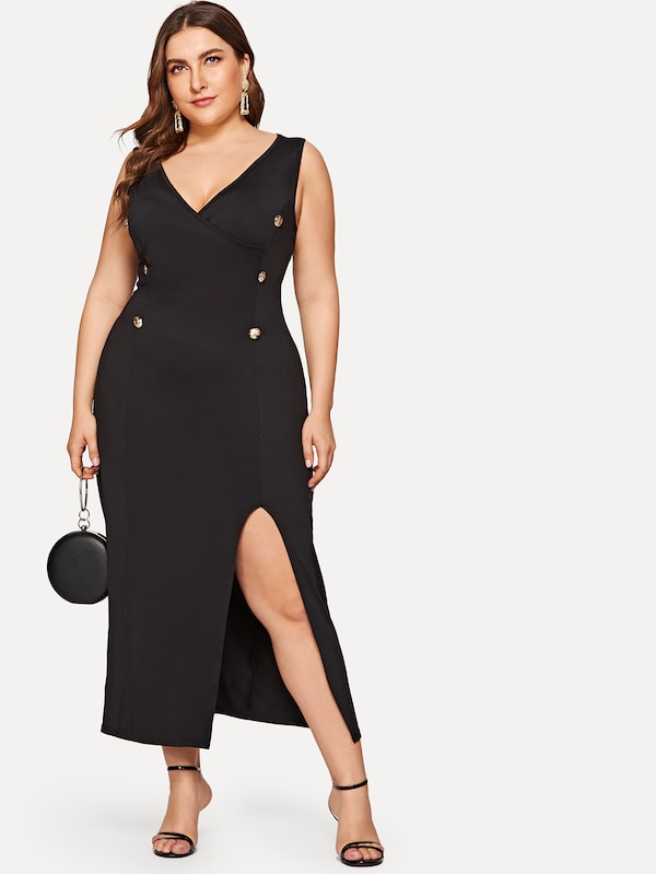 Plus Size Button Front Split Dress – Plussizefix