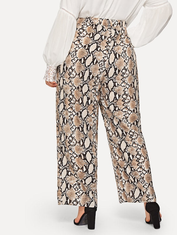 Plus Size Snake Print Pants